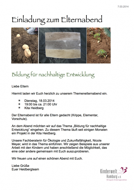 elternabend am 18.3.2014 | kita heidberg, Einladung